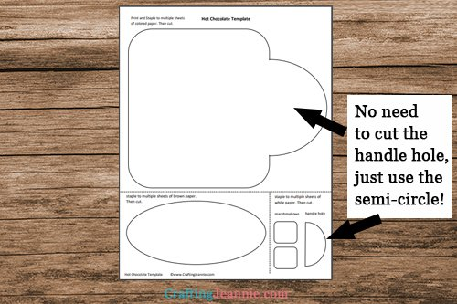 hot chocolate craft template printable pages