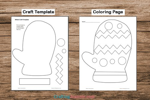 mitten craft template printable pages