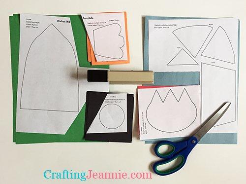 preschool rocket ship craft template ready to cut