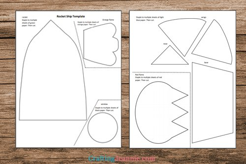 rocket ship craft template printable pages