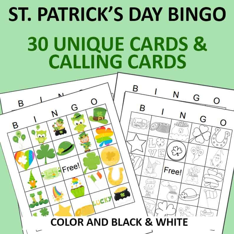 st patricks day bingo cards