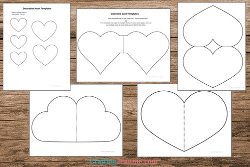 Valentine card templates page previews