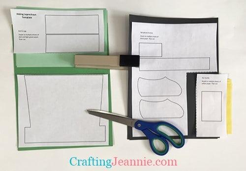 easy leprechaun craft templates stapled to paper