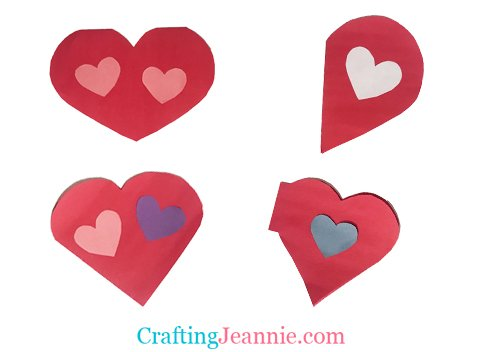 four homemade heart cards