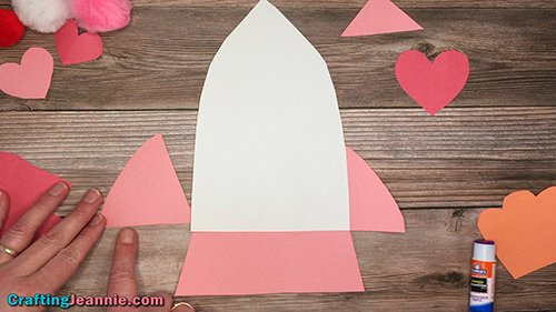 glue the wings onto the Valentine Rocket Ship