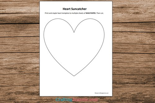 heart suncatcher craft template printable pages