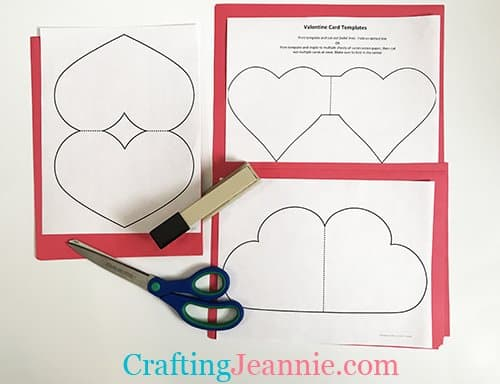 valentine card templates stapled to red paper