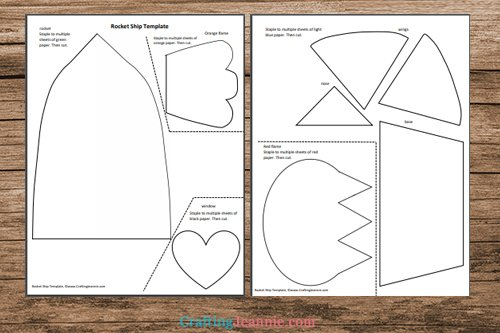 heart rocket ship craft template printable pages