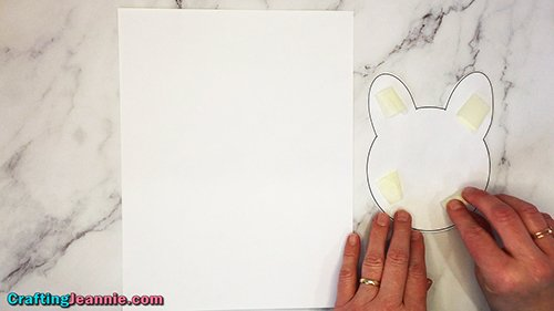 adding tape to the bunny template