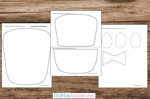 Easter basket craft template printable pages