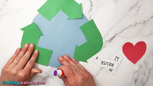 gluing arrow on reduce reuse recycle craft