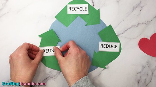 gluing on words reduce, reuse, recycling for earth day craft