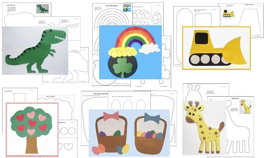 Craft Printables - Trex, tree, giraffe, and more - by Crafting Jeannie
