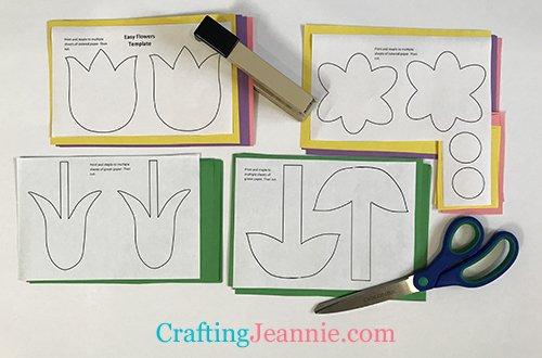 Preschool Flower Craft Template pieces ready to cut