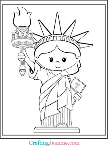 Statue of Liberty Coloring Page by Crafting Jeannie