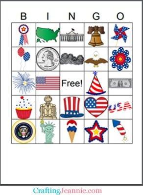 Fourth of July Bingo Card by Crafting Jeannie
