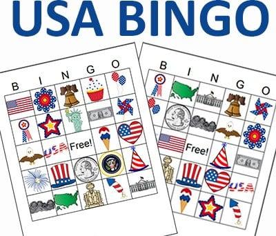 US Bingo Cards by Crafting Jeannie