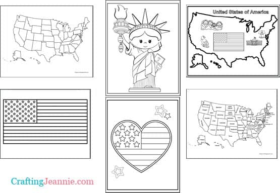 United States Coloring Pages by Crafting Jeannie