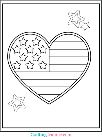 Heart Flag Coloring Page by Crafting Jeannie