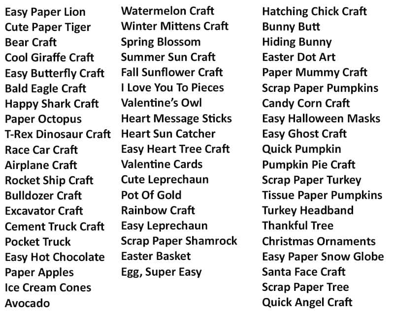 Crafts Included in A Year Of Crafts