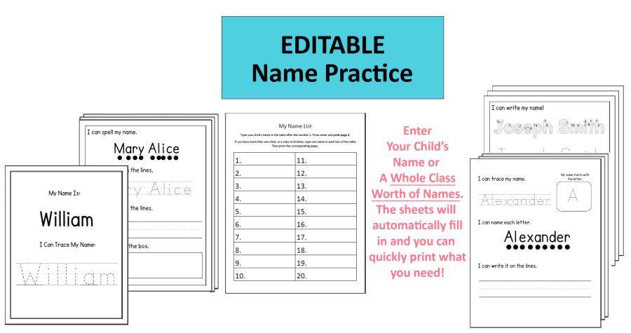 Editable Name Worksheets by Crafting Jeannie