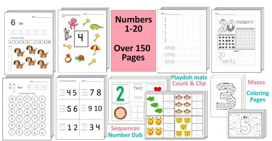 Preschool Number Worksheets by Crafting Jeannie