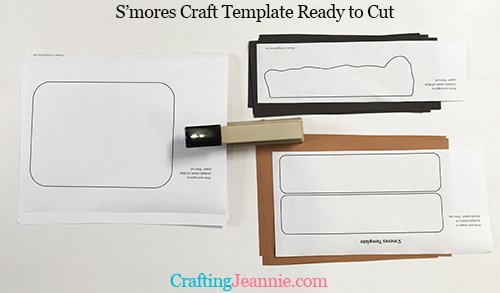 s'mores craft template stapled to paper