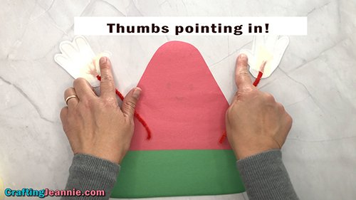thumbs pointed out for the preschool Watermelon craft
