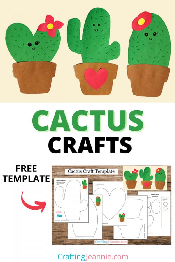 Cactus Craft for Pinterest by Crafting Jeannie