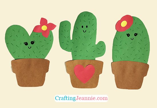 Paper Cactus Craft with Free Template by Crafting Jeannie