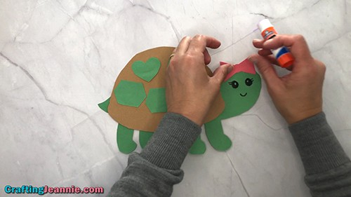 finishing the girl turtle craft