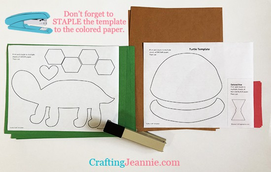 stapling the turtle craft template